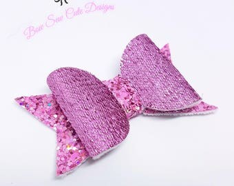 Pink shimmer bow/ glitter bow/ girls hair bow/ shimmer bow/ Girls bows/ pink bow/ pink glitter bow/ purple bow/ toddler bow/ baby headband