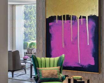 large wall pictures for living room. Large wall art  acrylic Painting on canvas Gold Purple Acrylic Etsy