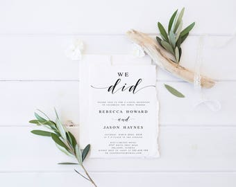We did Elopement Invitation Template Just Married Invitation Template Wedding Announcement Marriage Announcement DIY Just eloped Editable