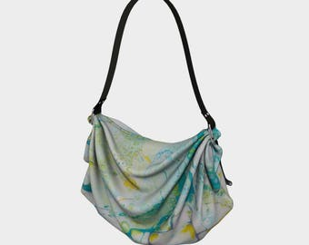 Bubbling Through fluid art 'Origami' tote bag, large tote bag, day tote bag with abstract fluid art print