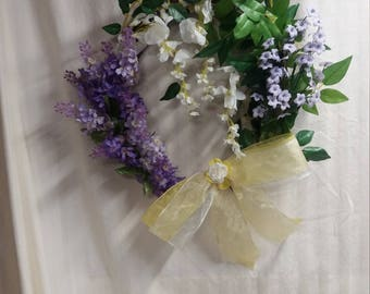 Lavender and Wisteria  Spring Wreath, purple, white and yellow, front door decor for spring,  15x17