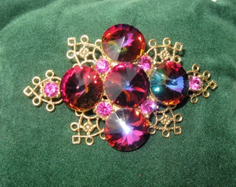 VINTAGE Brooch Fuchsia Rivoli Crystal Gold Filigree ~ Rivoli Crystal Gold Brooch