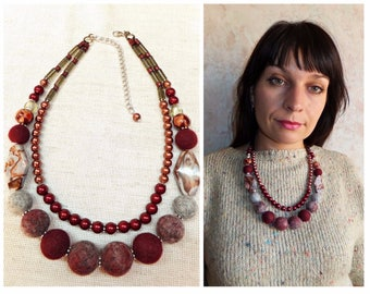 burgundy bead necklace crystal bead handmade felt gift glass flower necklace wool jewelry necklace women gray necklace natural stone jasper