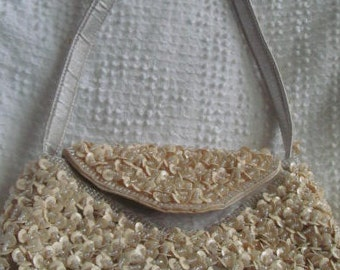 Vintage beaded evening handbag. Off white.Free shipping!