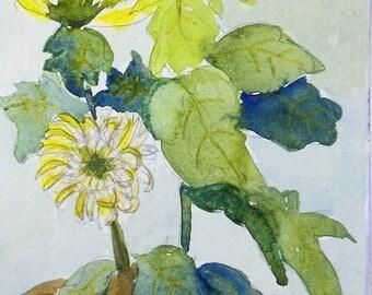 Yellow Mums Original Watercolor Blue Green Flowers