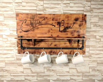 Rustic Coffee Bar Offset Pallet Wood Wall Mounted shelf with Iron pipe bar