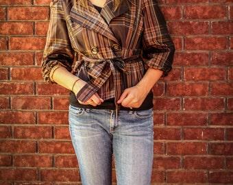 Vintage Brown Plaid Waist Coat | Rain Coat | 90s Jacket