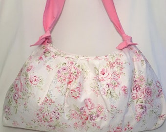 SALE!! Market Bag, Baby Bag, Purse, Cross Body, Vintage Look, Floral, Shoulder Bag, Mom's Bag, Pink, White