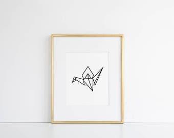 Origami Crane Printable // Origami Print, Minimalist Printable, Minimalist Wall Art, Minimal Wall Decor, Black and White Printable, Scandi
