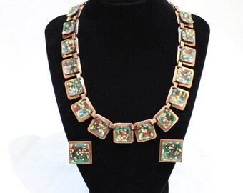 Vintage MATISSE RENOIR Copper Necklace and Clip On Earrings SET, Green Red Yellow Enamel, Signed Matisse Necklace and Earrings