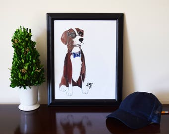"Original Artwork Print: ""Nerd Dog"""