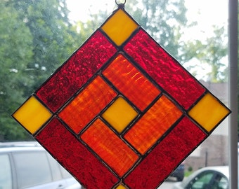 Rosy Reds Stained Glass Suncatcher