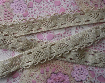 Lace vintage beige dating from 1980's cotton 2.50 cm in width.