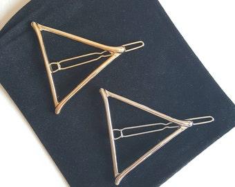 Triangle Hair Clip, Gold Triangle Hair Clip, Silver Triangle Hair Clip, Geometric Hair Clip, Triangle Barrette, Geometric Barrette