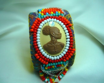 African Earth Cuff bracelet felt, multicolor beads