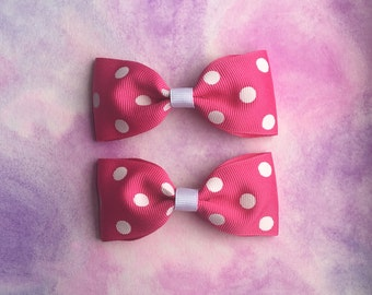 Set Of Two Pink With White Polka Dot Hair Bows