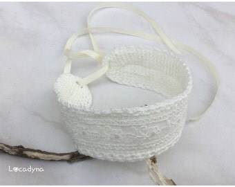Necklace Choker of neck romantic white broken Christmas wedding new year gift woman teen Crochet acrylic lace closure ties to tie