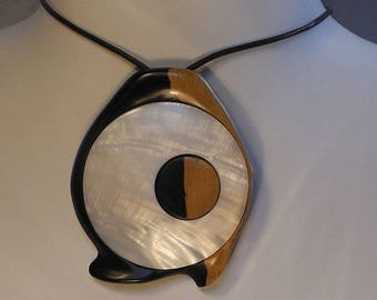"Necklace contemporary carved ebony wood and inlaid with MOP, ""fish eye"" 3"