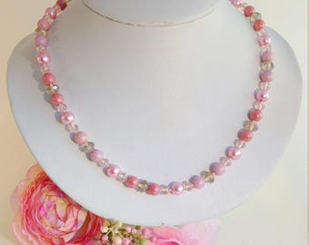 Necklace beads knotted Christelle pink/beige