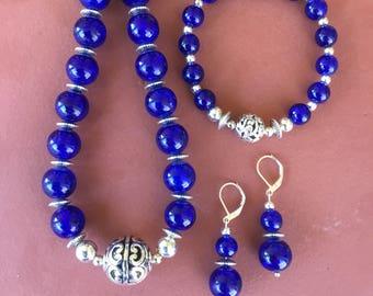 Necklace,Bracelet, Earring Set in Cobalt Blue Glass Beaded Trio