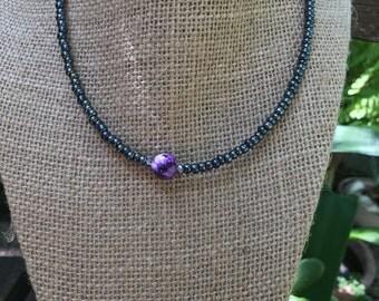 Black Beaded Choker Necklace//Purple Marble Bead//Cute