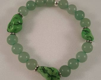 Gemstone bracelet made of aventurine, Magnesitnugget and intermediate parts made of silver 925