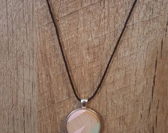 Painted wood pendant necklace, Light pink and green, Wood jewelry, Modern design