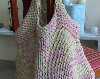 Hand knitted wool bag