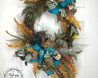 Blue Velvet Pumpkin Grapevine Wreath Fall, Fall Wreath, Blue & Green Wreath, Pumpkin Wreath, Autumn Wreath, Fall Decor, Autumn Decor