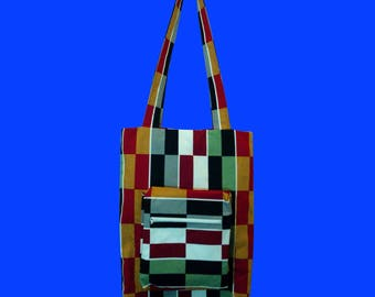 Bag cotton rectangles black, grey and Burgundy