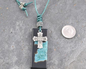 Teal & Brown Druzy Agate Leather Pendant Bead Necklace