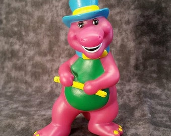 Barney Toy/ 1990's Barney/ Vintage 90's Toy/ Barney in a top hat/ Lyons Group