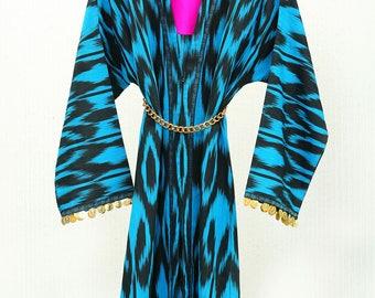 ZARI BLUE - Ikat Jacket with chain belt
