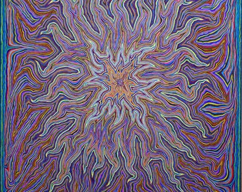 Psychedelic abstract drawing, original art -- All Things Are Alive 4