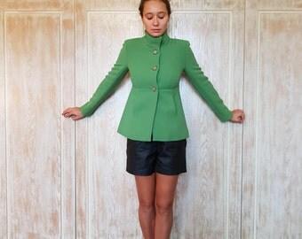 Vintage jacket,Wool jacket,Warm jacket,JCrew jacket,Green jacket,Autumn jacket,Spring jacket,Brand jacket,Jackie Kennedy style,80's jacket