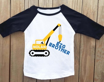 Big brother shirt, construction shirt, big brother announcement shirt, crane shirt, brother outfits, brother shirts, construction, crane