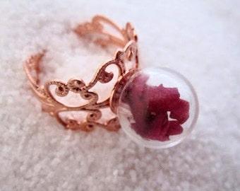 real rose ring valentine rings romantic rings for girlfriend rose gold terrarium