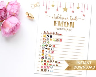Children's book emoji baby shower game   Pink and gold baby shower games   Emoji game pink baby shower   Printables shower games