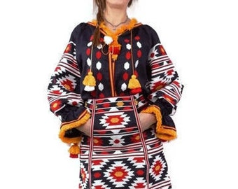 Vyshyvanka Woman Ukrainian embroidery Blue linen boho Blouse Bohemian Blouse Custom boho Clothing Vishivanka Ukrainian boho Chic nationale