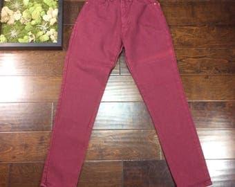 "HIGH WAISTED LEI Vintage Jeans, Size : 5, Waist 21"", Red, Maroon, Burgundy, Deep, Retro, 80's, 90's, Denim, Skinny"