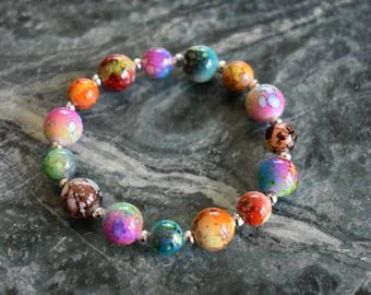 Happy Day Bracelet - Matches with everything! Multicolor, Beaded Bracelet, Elastic String, Jewelry