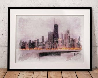 Chicago Skyline Watercolor, Chicago Poster, Chicago Artwork, Chicago Wall  Art, Chicago Cityscape