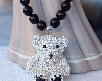 Natural black agate with Teddy bear pendant necklace