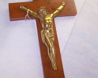 Religious, Crucifix Applejuice Bakelite, Vintage, 1930