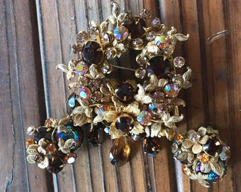DeMario Demi Parure Brooch and Clip on earrings