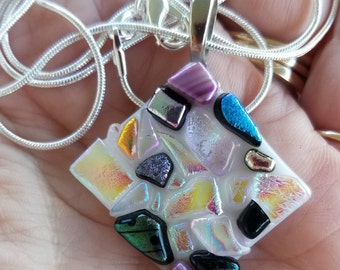 Sparkly dichroic glass pendant necklace wjth chain