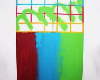 Original contemporary abstract acrylic painting on panel, medium size, digital aesthetic: '>Overlap<'