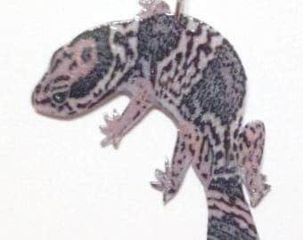 Handcrafted Plastic African Fat-tailed Gecko Lizard Reptile Necklace Pendant Dark