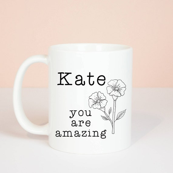 Personalised you are amazing gift mug, flower illustration, beautiful gift for an amazing person mug