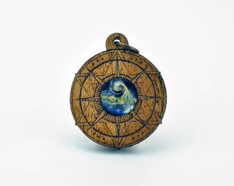 Sailing Compass Mahogany and Blown Glass Laser Cut Pendant, Sacred Geometry